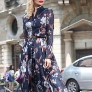 Organza print maxi dress